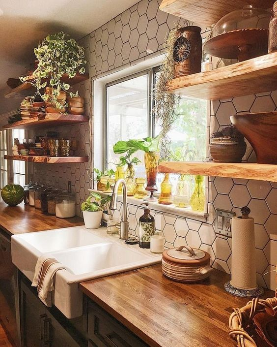 Honeycomb Tiles in Modern Farmhouse Kitchen Ideas with shelves sink and decor