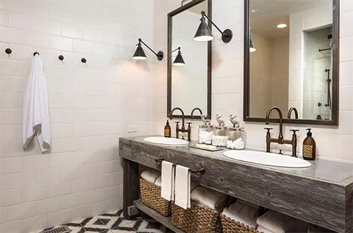 Industry Inspired Lighting rustic bathroom lighting ideas with double vanity sink with square mirrors wood finish
