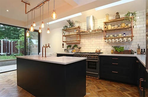 Industry inspired kitchen cabinet with shelves in black