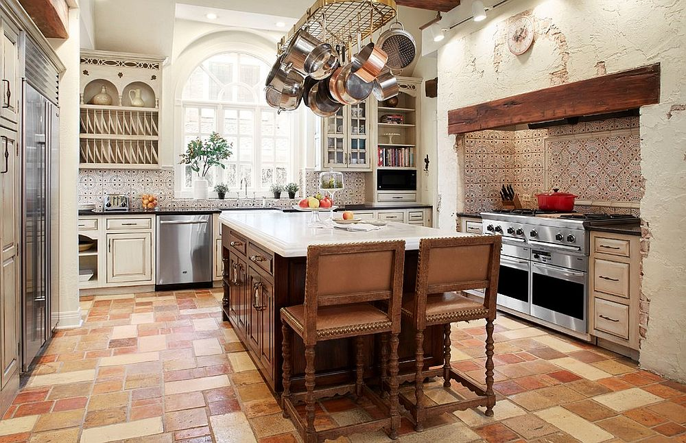 Moroccan style tiled backsplash in large kitchen with storage and hanging pots