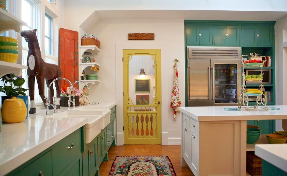 Painted Glass Cupboard Doors in green and white kitchen