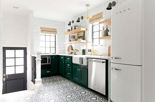Patterned Floor Tiles in bright kitchen in green