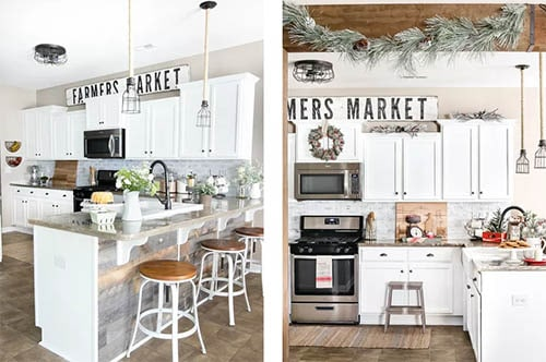 Rustic Texture in kitchen with white cabinets