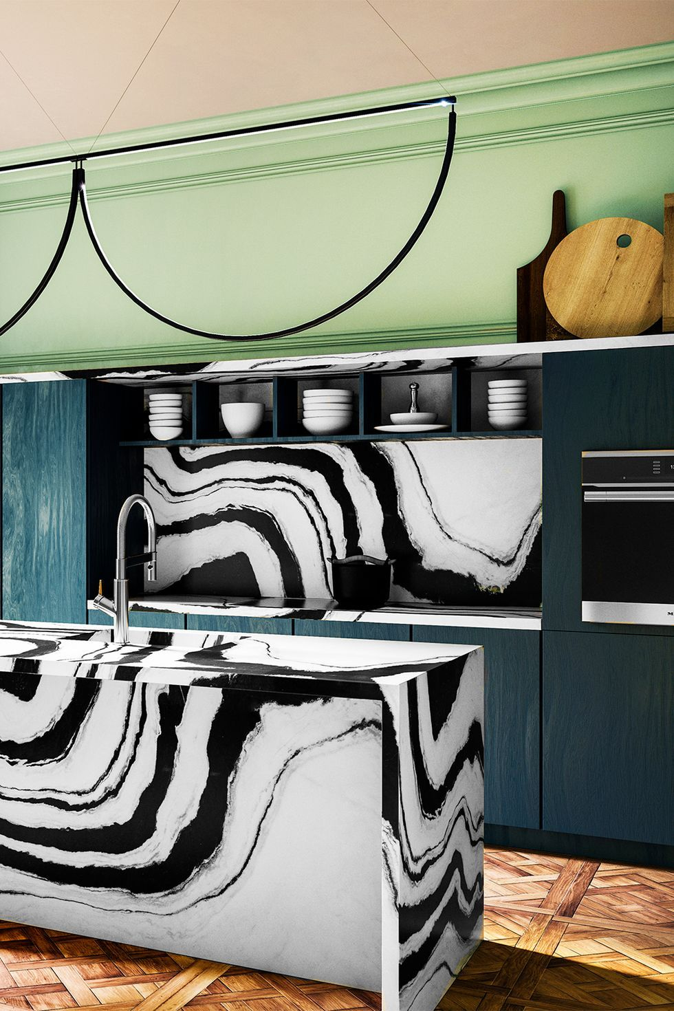 Statement Marble in modern kitchen with blue and green accents