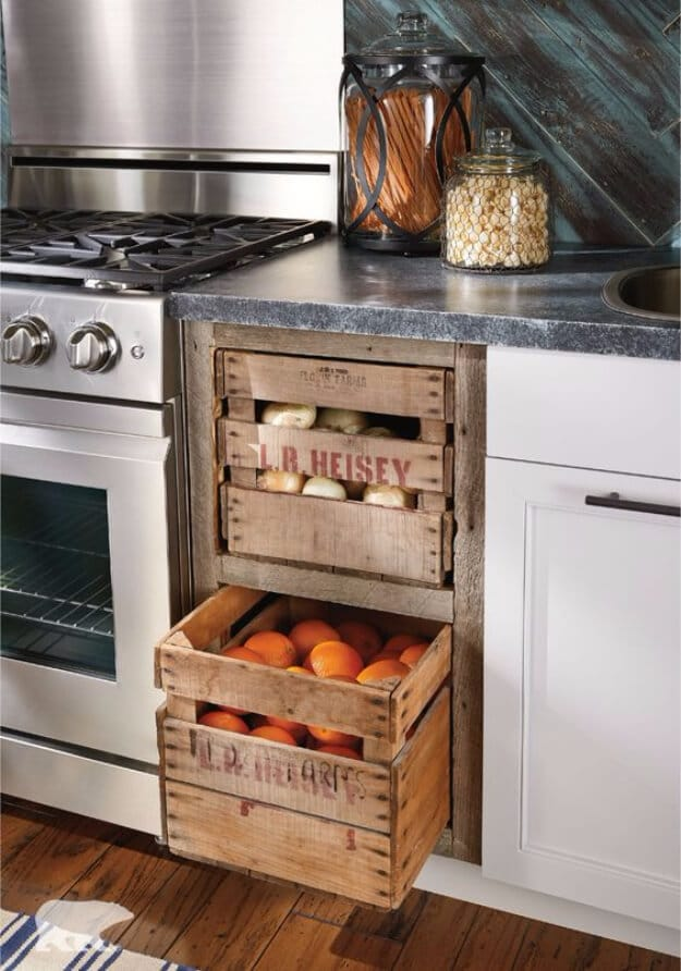 Storage Drawers from farmers market crate with fruits and vegetables