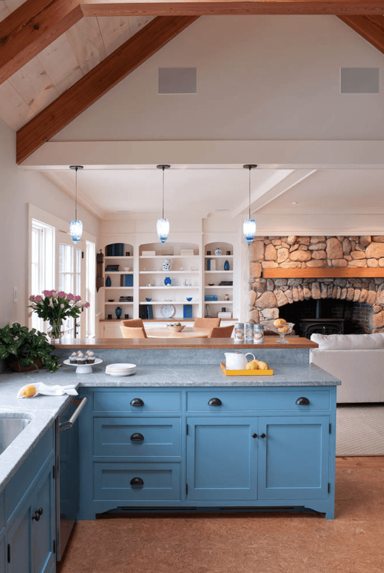 colorful walls with blue cabinets