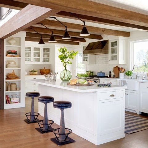 designs with exposed wooden beams in white kitchen and decor