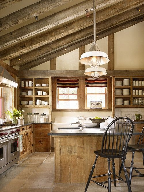 inviting kitchen designs with exposed wooden beams and storage
