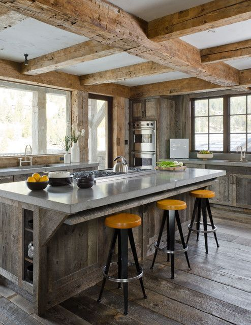 kitchen designs with exposed wooden beams in rustic kitchen with wood accents