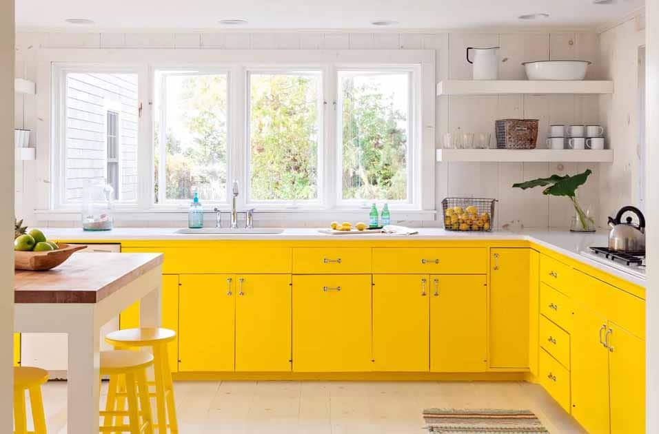 lemon yellow kitchen cabinets fronts with island