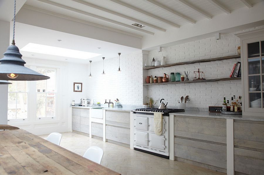 nordic style Modern Farmhouse Kitchen Ideas with wood accents and lighting