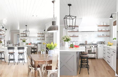 period lighting with wood flooring and wood accent shelves