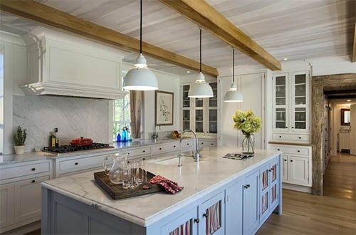 skirted cabinets with island and lighting