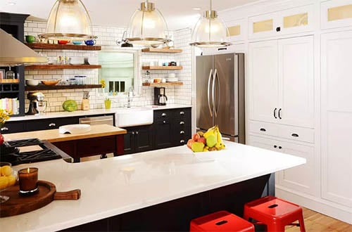 retro style kitchen with wood shelving