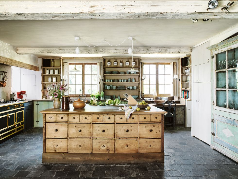 wooden cabinet in kitchen with wood storage shelves