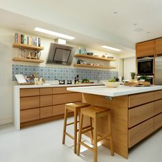 Wood kitchen design ideas with white accents and shelves
