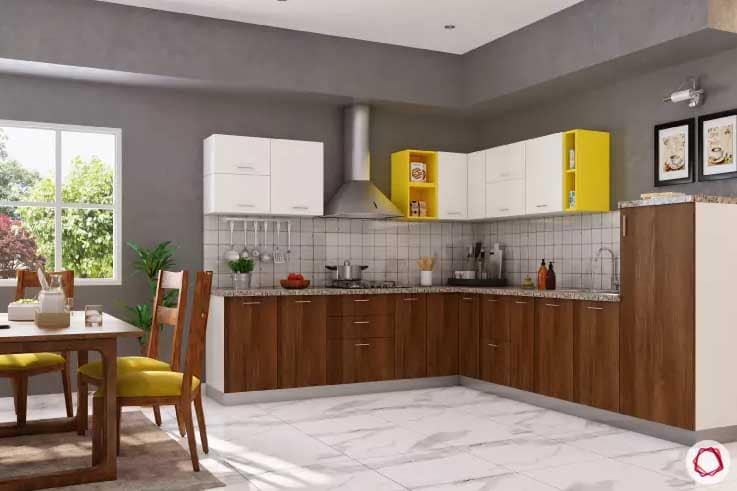Kitchen with wood accents with yellow accents and gray walls with white floor