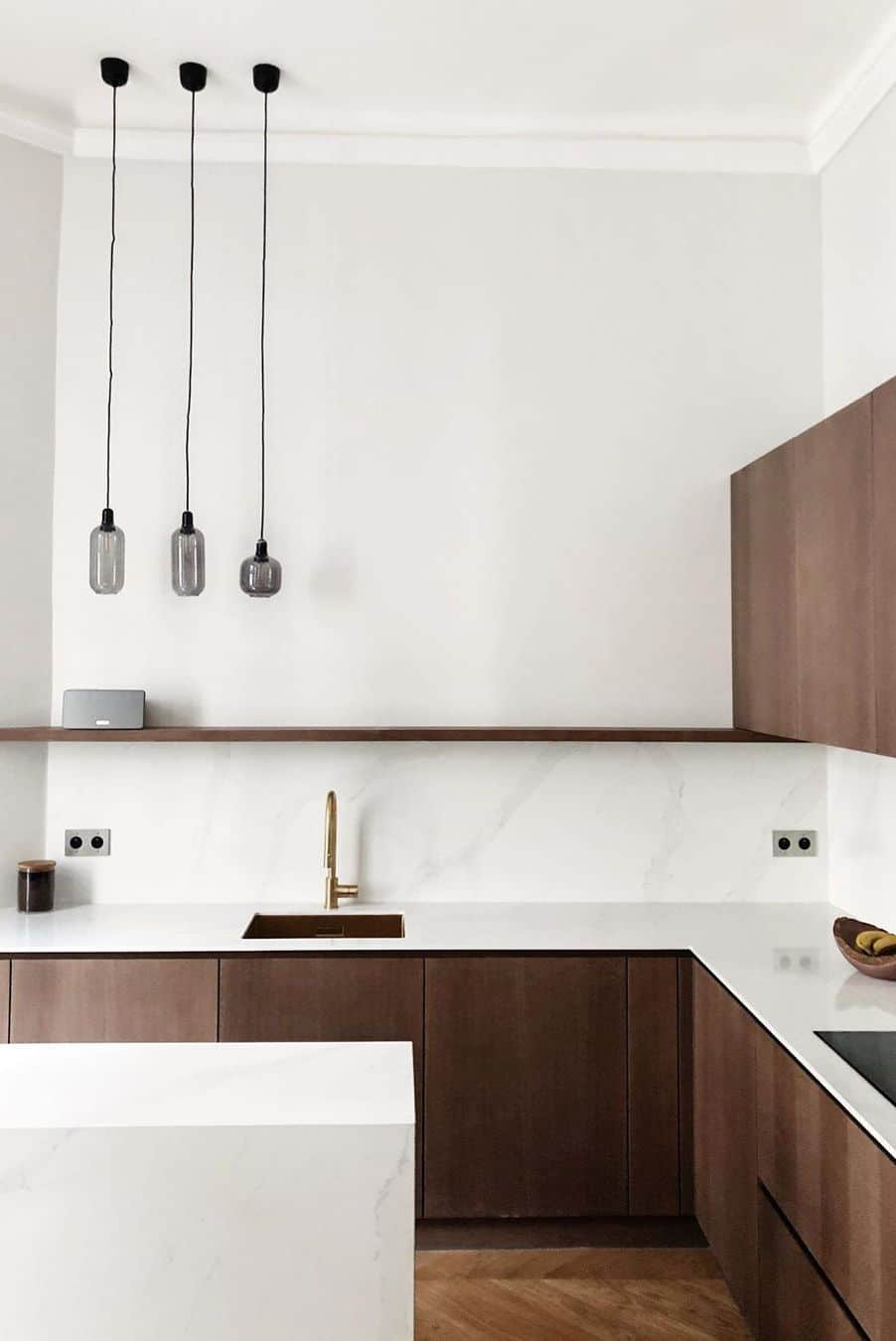 Wood kitchen design ideas with dark and light accents with hanging lighting and shelf