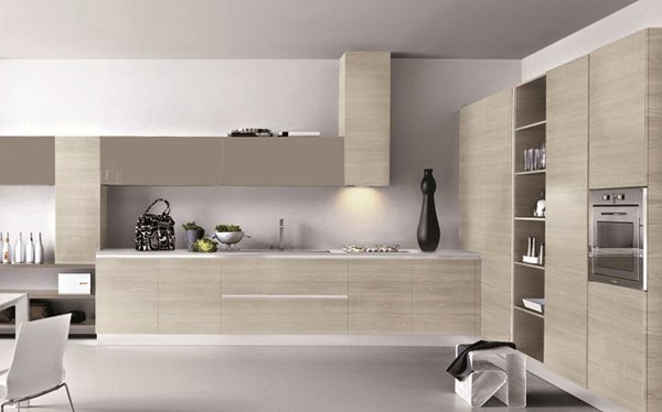 White kitchen with decor and light tones with shelving