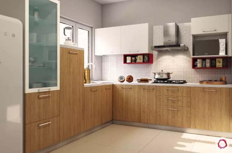 Kitchen design with wood and white classic backsplash with natural lighting