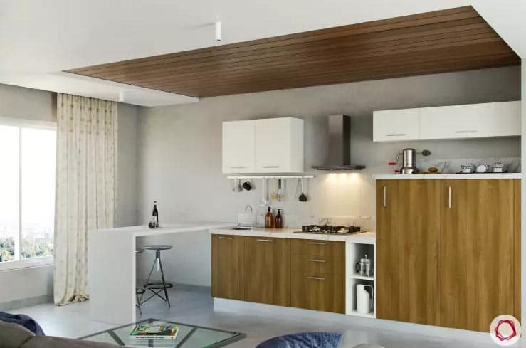 Light wood accent kitchen with breakfast table and wood accent ceiling