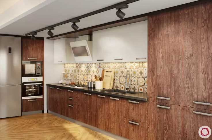 Wood kitchen design ideas in L shaped kitchen with track lighting