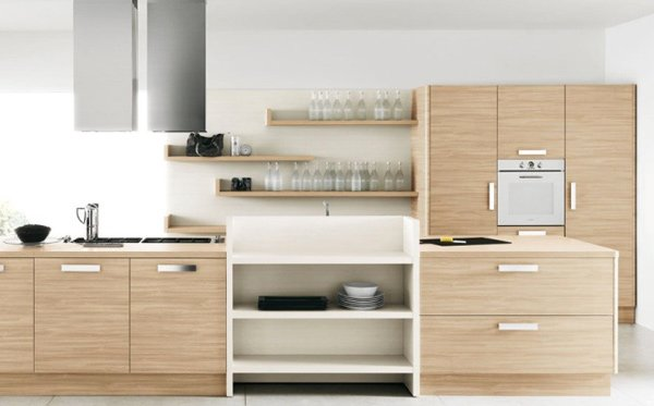 Wood kitchen design ideas in white with light wood tones and shelving