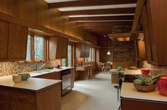 Wood kitchen design ideas with brick and wooden beams