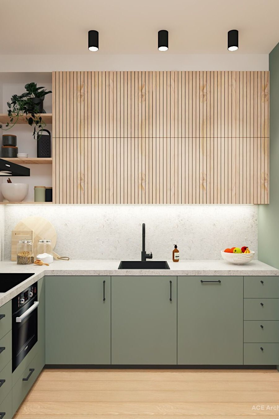 Wood kitchen design ideas in light green with shelves and lighting