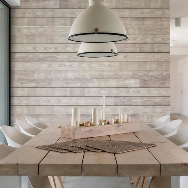 Wood kitchen design ideas with shiplap background and large white lights