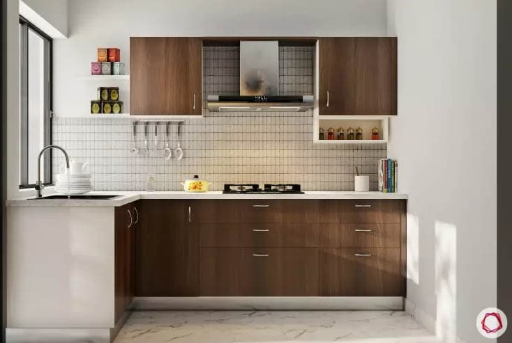 Wood kitchen design ideas with white and dark contrast