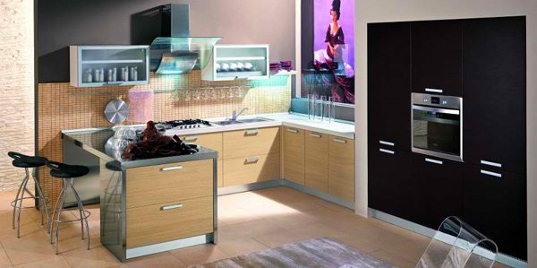 Kitchen with glass shelves with metal accents and black tones
