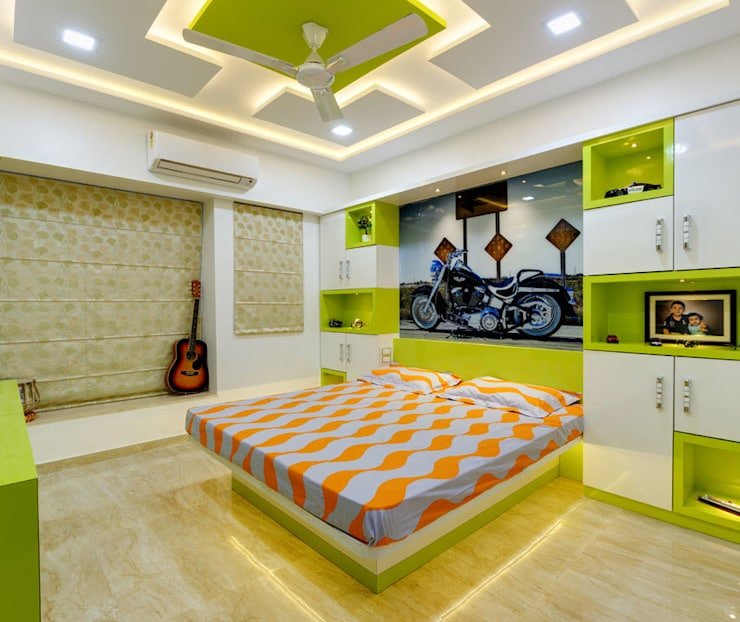Feng Shui For Kids Bedroom in neon green with guitar and ceiling fan