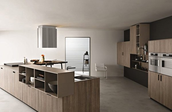 Kitchen with wood design and lighter gray tones