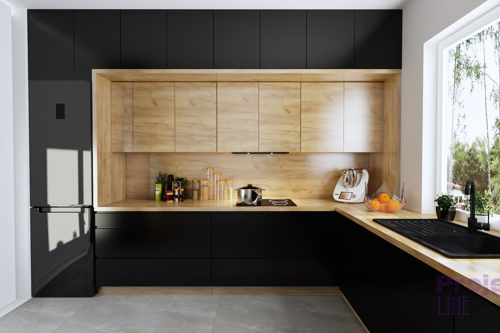 Wood kitchen design ideas with black cabinets and wood accents