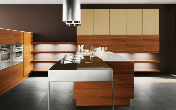 Wood kitchen design ideas with backlit shelving and black flooring