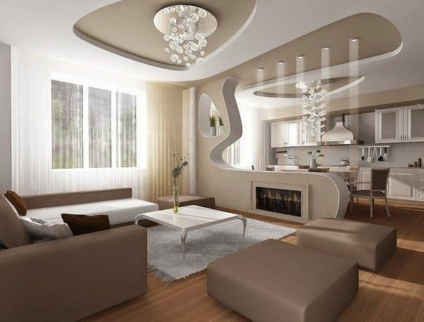 Room with modern shapes with brown and neutral tones and false ceiling