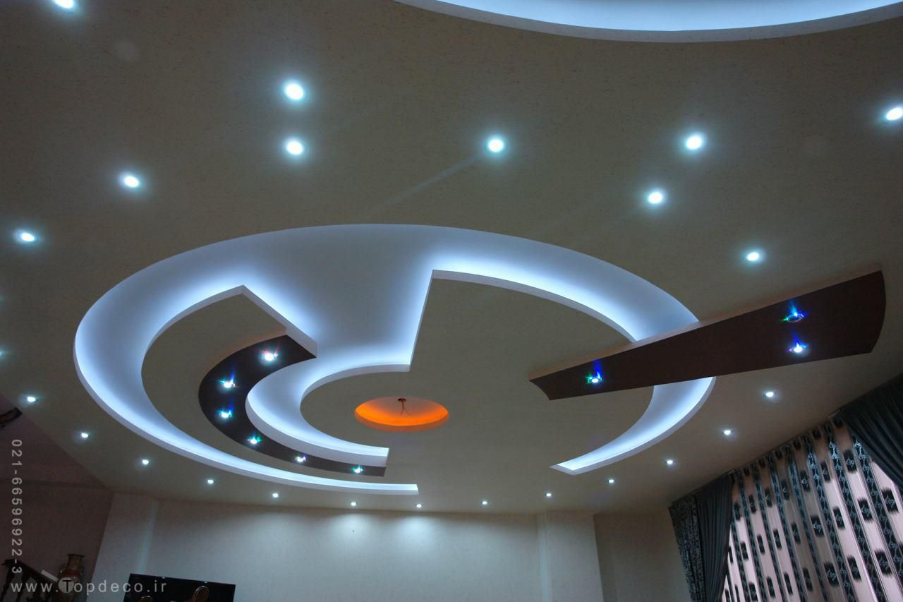 POP Design with Luxury Lighting in round cutout false ceiling