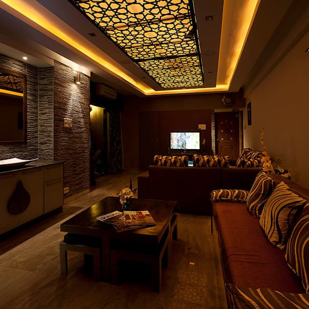 false ceiling design ideas for living room with subdued lighting and darker toned decor