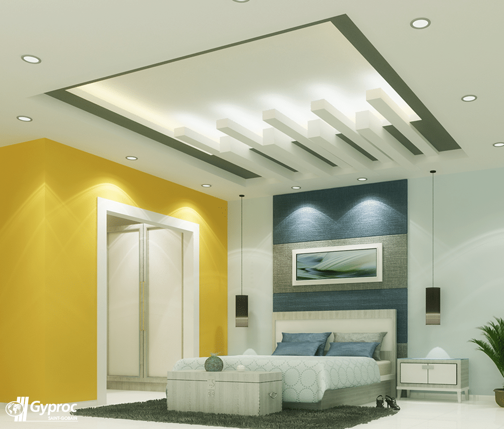 Rectangular design cutouts of ceiling design in yellow white and blue bedroom