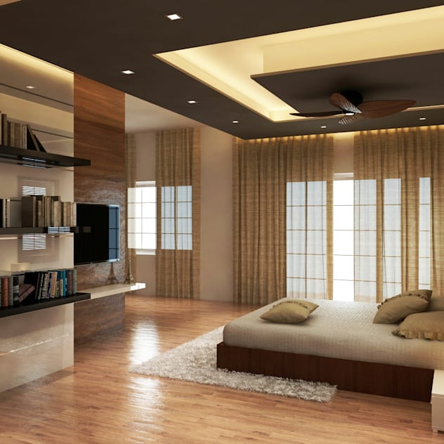 false ceiling design ideas for living room with storage shelves bed and brown ceiling