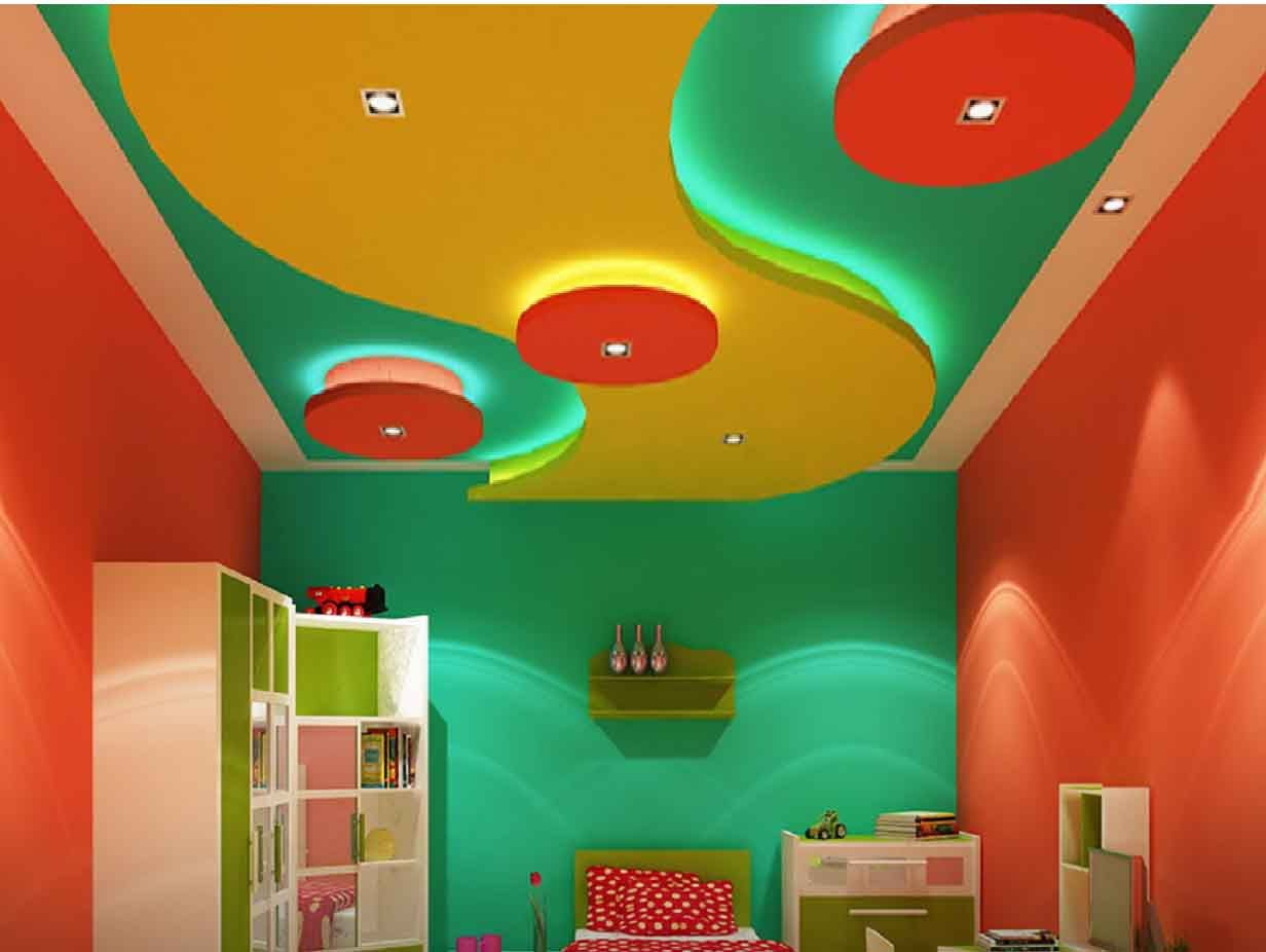 Colorful multi shaped ceiling in bedroom