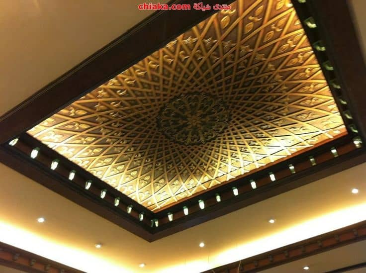 False ceiling with wooden border and artistic design
