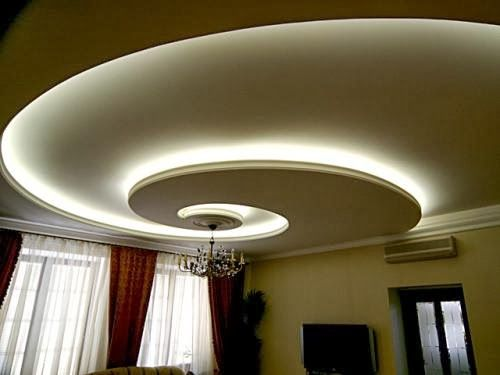 Swirl ceiling pattern with chandelier and white lighting