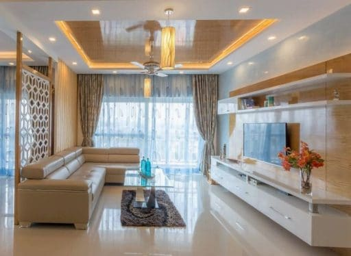 false ceiling design ideas for living room with tray design in white with cream furniture