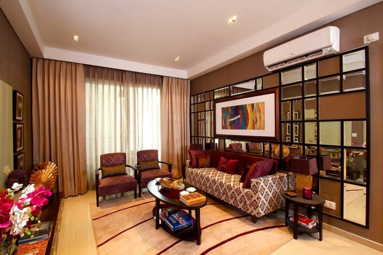 false ceiling design ideas for living room with decor and mirrored wall