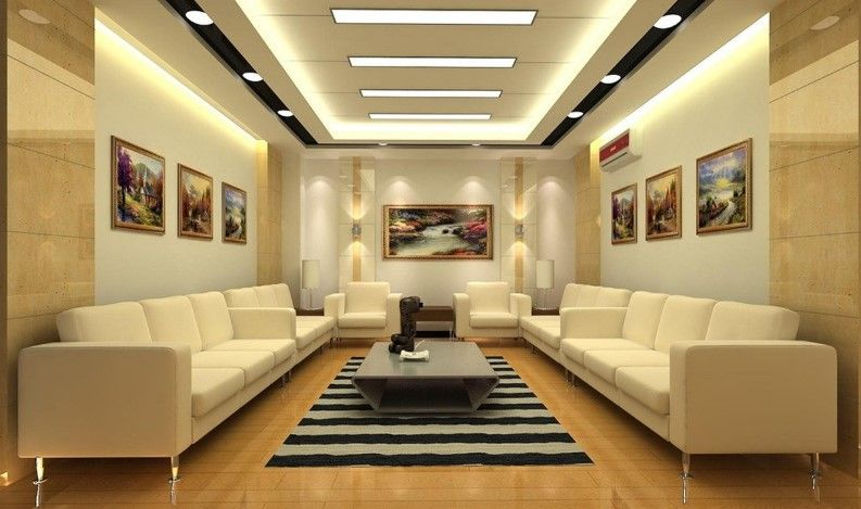 high class luxury in white room with art work and false ceiling lighting