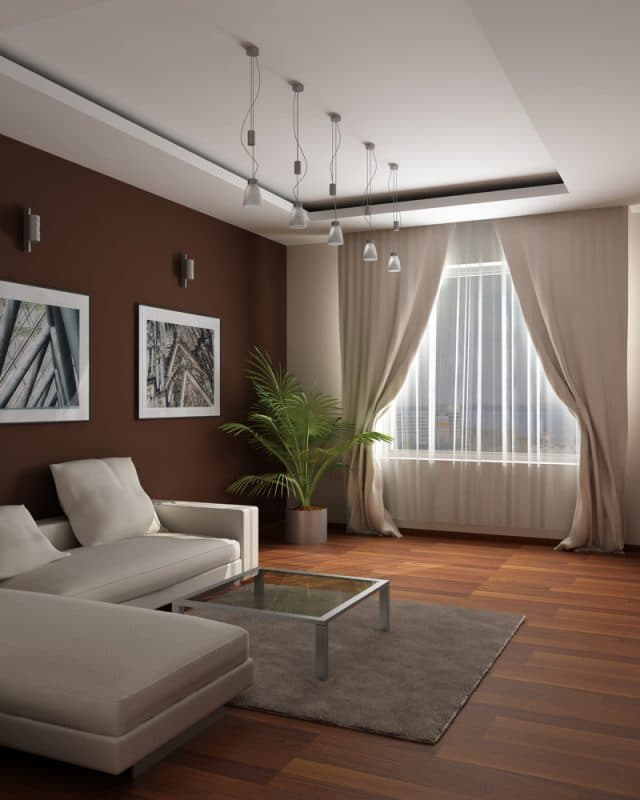 false ceiling design ideas for living room in white with brown walls with light furniture