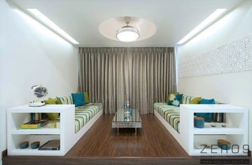Simple false ceiling with large light and green and blue decor