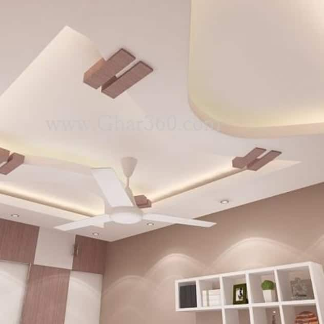 false ceiling design ideas for living room with white ceiling storage shelves and fan